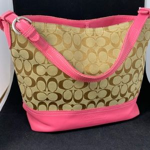 Coach classic fabric & leather bucket tote
